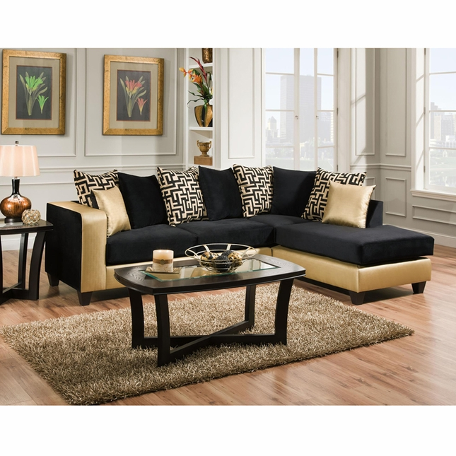 Riverstone Implosion Black Velvet Sectional