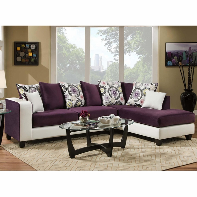 Riverstone Implosion Purple Velvet Sectional