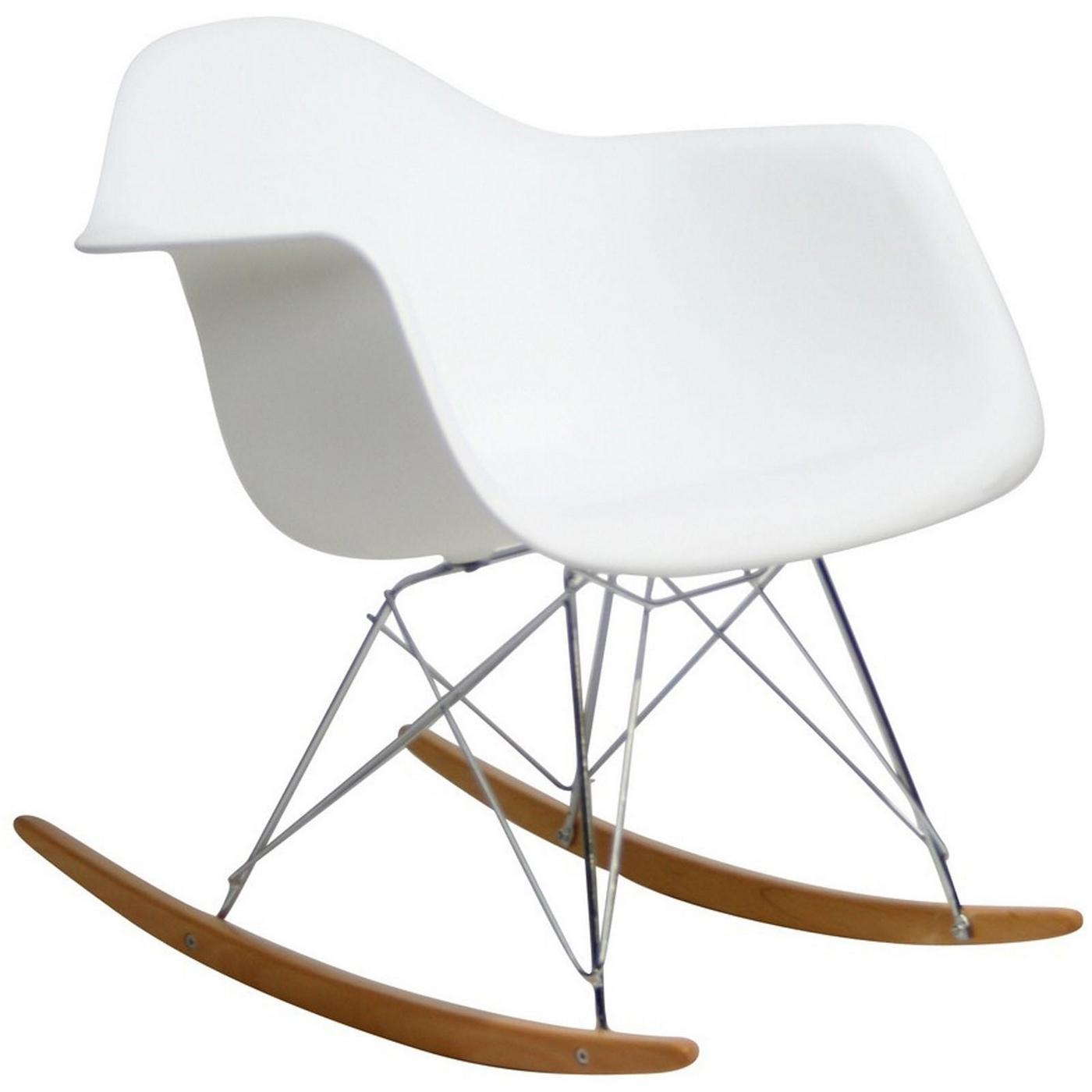 Rocker molded plastic rocking lounge chair with chrome wood base white - Rocking chair but ...