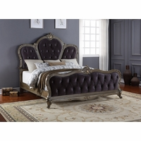 Roma French Bombe Crystal Tufted Queen Bed Antique Silver