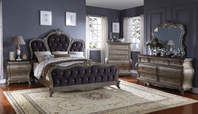 Roma French Bombe Crystal Tufted 4 Piece King Bedroom Set