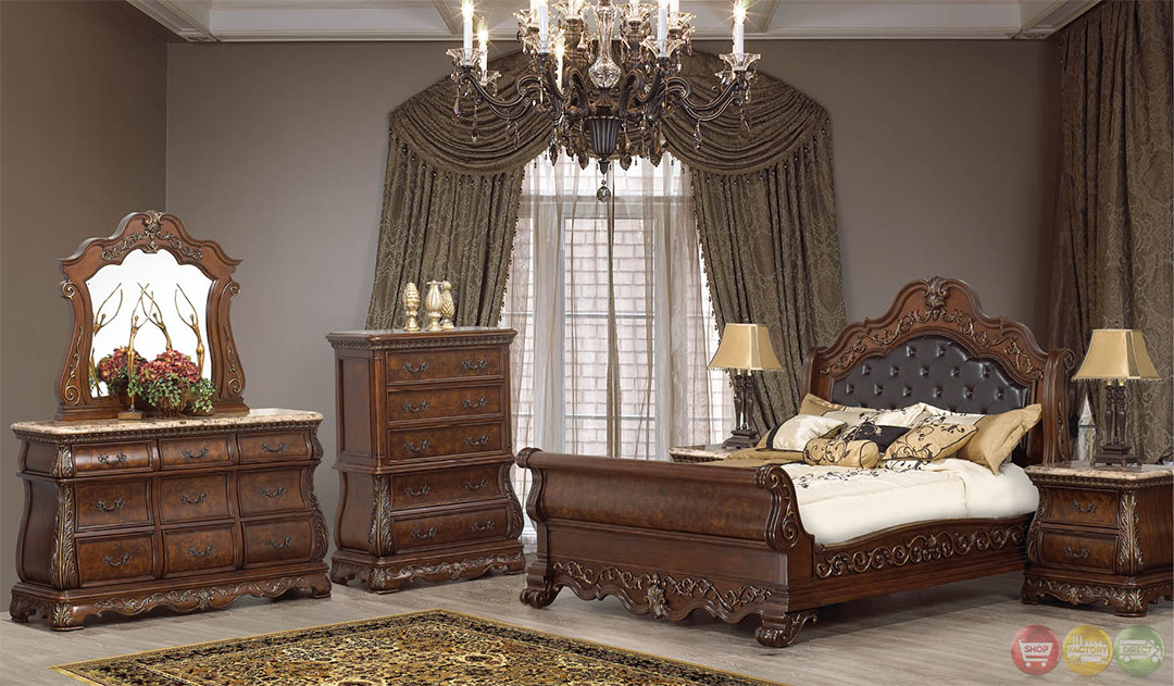 Rome Traditional Cherry Sleigh Bedroom Set With Stone Tops Rpcmo06