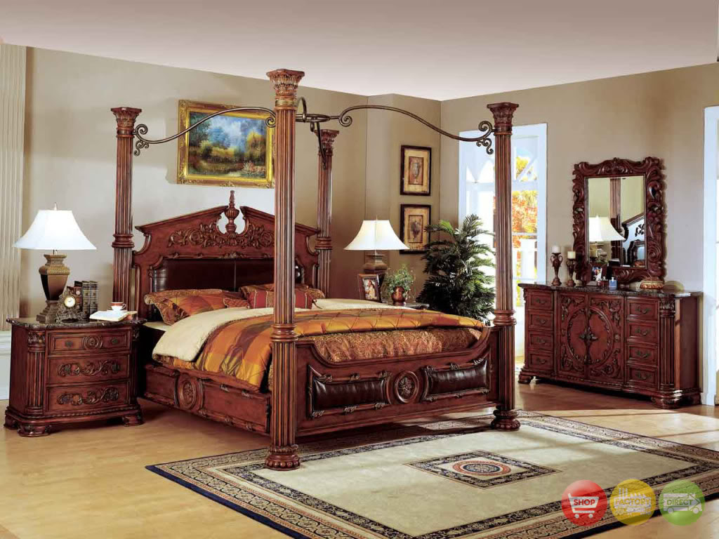 Traditional canopy bed w leather bedroom set w marble for Traditional bedroom furniture