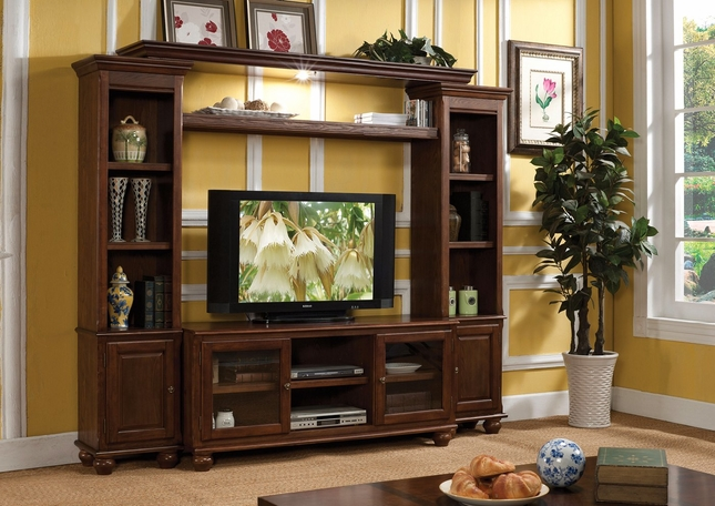 "Rosa Traditional 59"" Lighted Entertainment Center in Dark Walnut Finish"