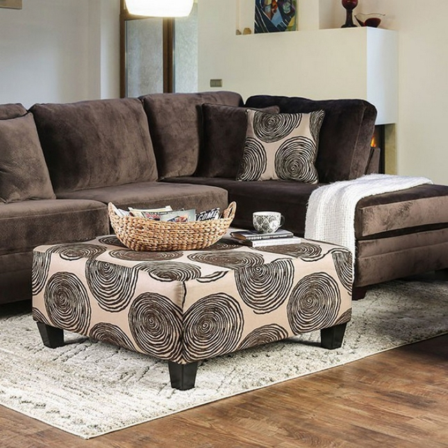 Rosalinda Transitional Brown Microfiber Sectional Sofa