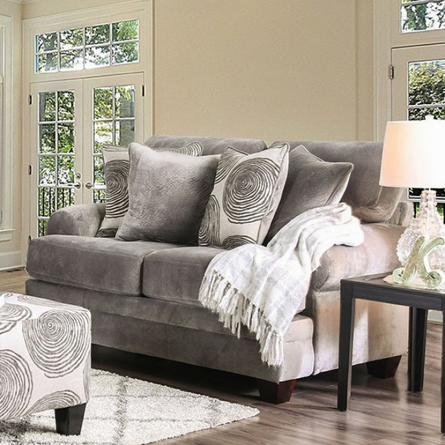 Rosalinda Transitional Grey Microfiber Loveseat with Accent ...