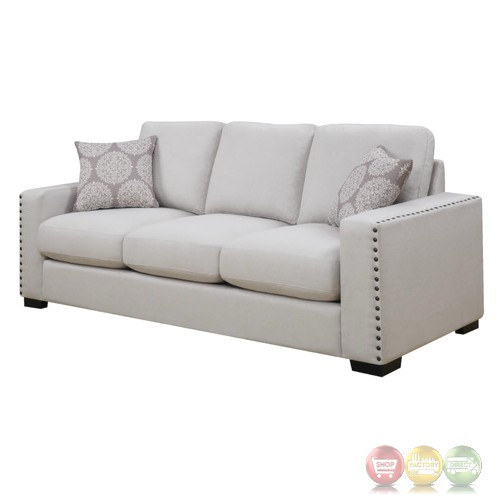 Rosanna plush white linen sofa with nailhead trim for White linen sectional sofa