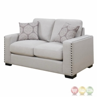 Rosanna Plush White Linen Loveseat With Nailhead Trim
