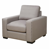 Rosanna Plush Grey Linen Chair With Nailhead Trim