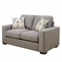 Rosanna Plush Grey Linen Loveseat With Nailhead Trim