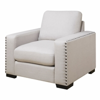 Rosanna Plush White Linen Chair With Nailhead Trim