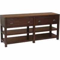 Rosanna Vintage Cocoa 2-Drawer Solid Mahogany Sofa Table