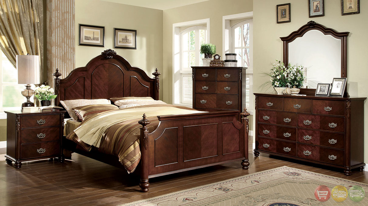 Roseland traditional brown cherry bedroom set with for Traditional bedroom furniture