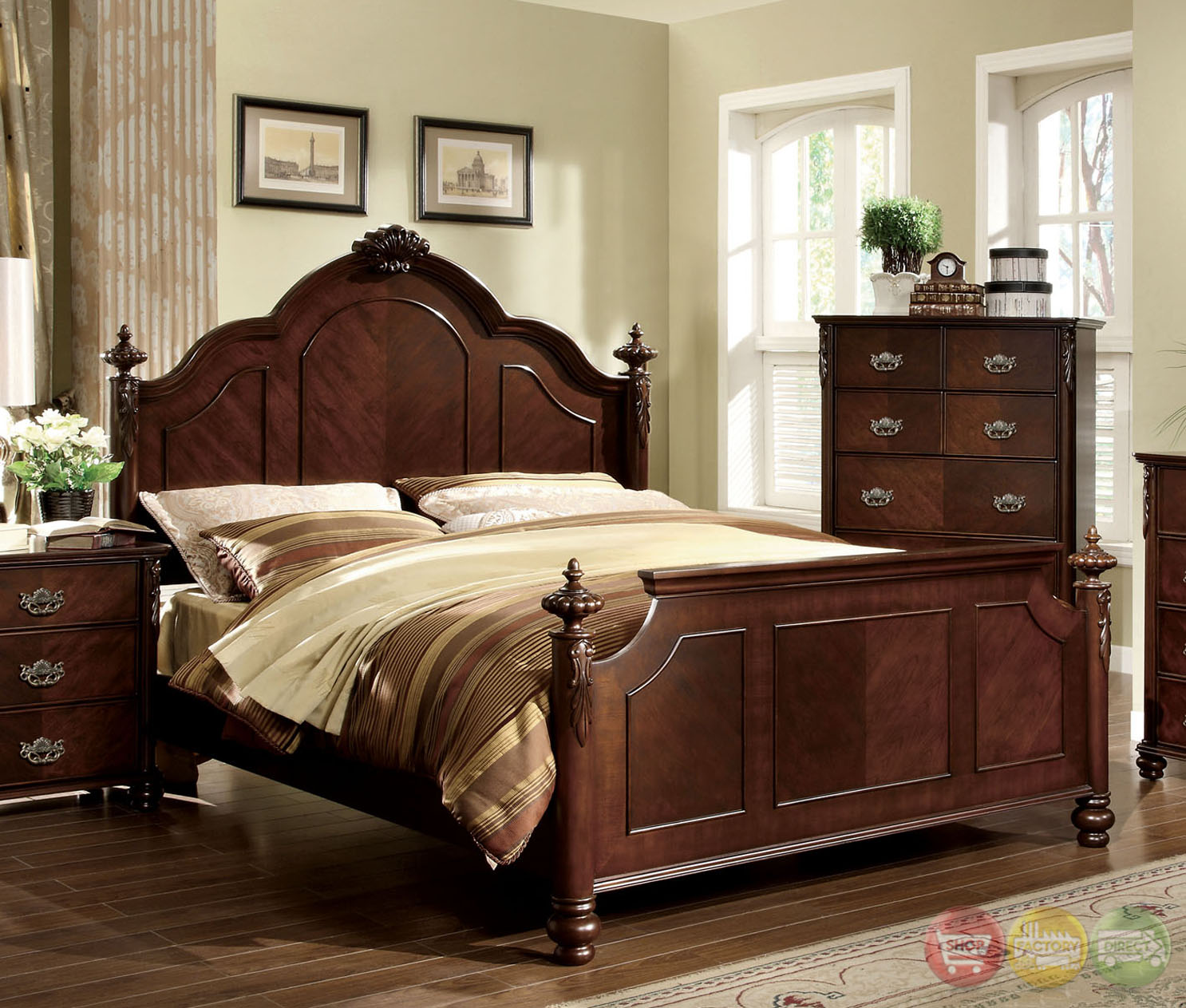 Roseland Traditional Brown Cherry Bedroom Set With Ornamental Headboard And Footboard Cm7269