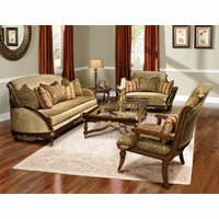 Rosetta Traditional Style Solid Wood Sofa Furniture Set