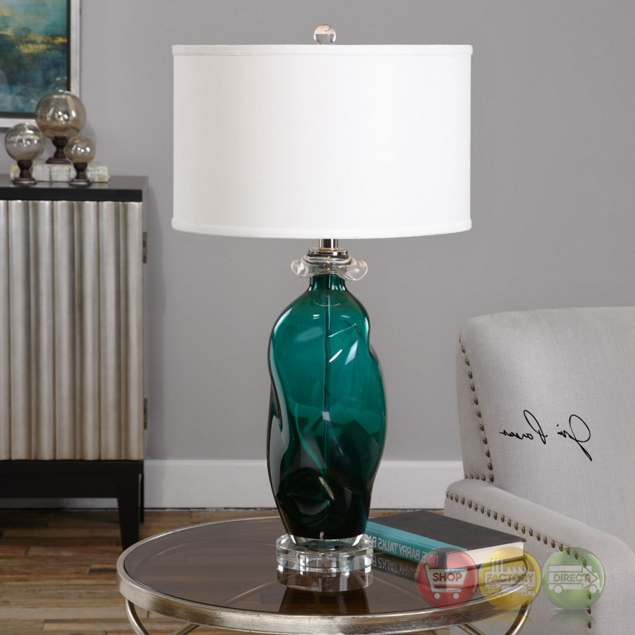 Rotaldo Hand Molded Blue Green Glass Table Lamp With Round