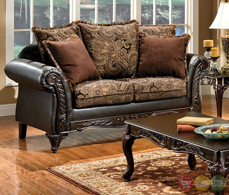Rotherham traditional dark brown living room set with for Dark brown living room set