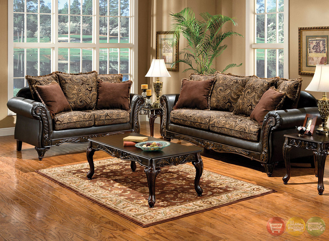 Rotherham traditional dark brown living room set with for Brown living room set