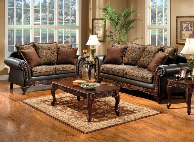 Rotherham Traditional Dark Brown Living Room Set With