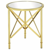 Round Glass Accent Table with Brushed Bass Base