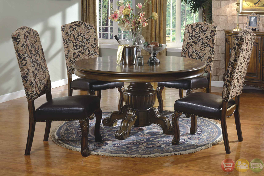 Traditional round walnut finish formal dining set d8401 6060 for Fancy dining room sets