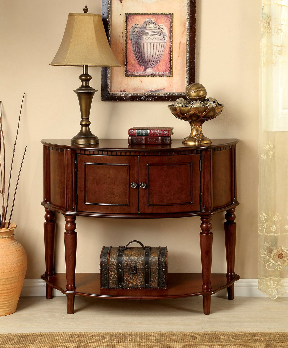 Used Metal Storage Cabinet >> Roxbury Traditional Cherry Console Table with Cabinet