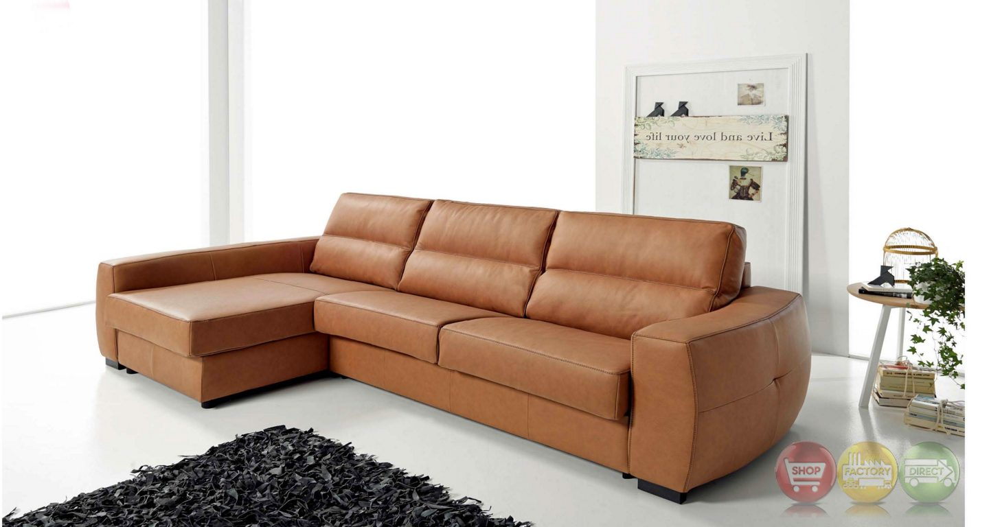 Roy reversible top grain leather sectional sleeper sofa in tan for Best sleeper sectional