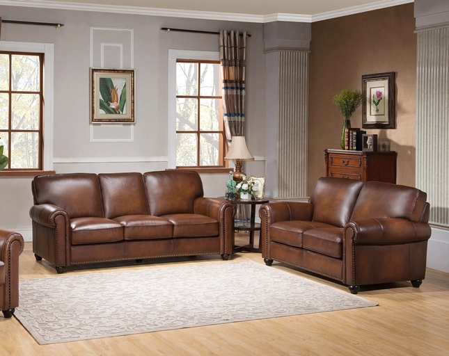 Royale Casual Olive Brown Sofa Loveseat Set In Luxury Top Grain