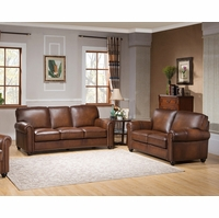 Royale Casual Olive Brown Sofa & Loveseat Set in Luxury Top Grain Leather
