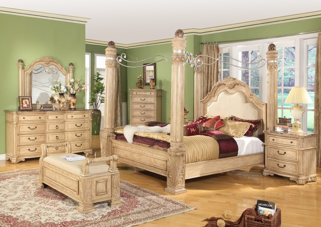 Attractive Royale Light Poster Canopy Bed Leather U0026 Marble Bedroom Set
