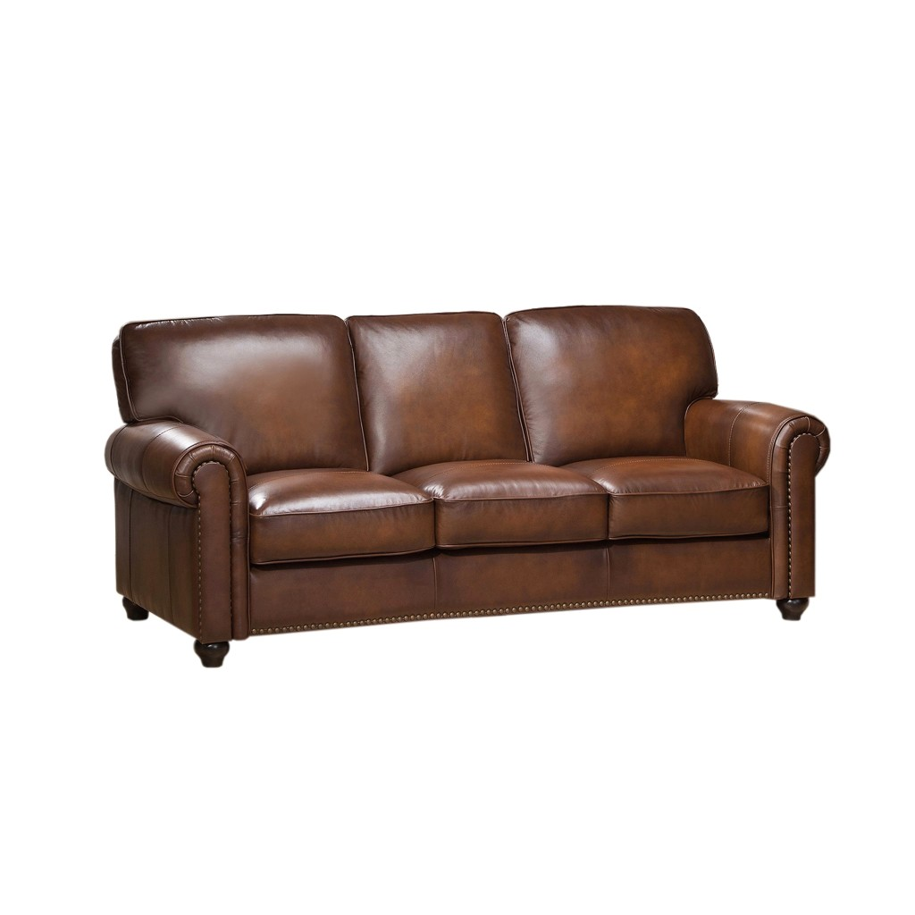 Royale Olive Brown Genuine Leather Sofa With Nailhead Trim