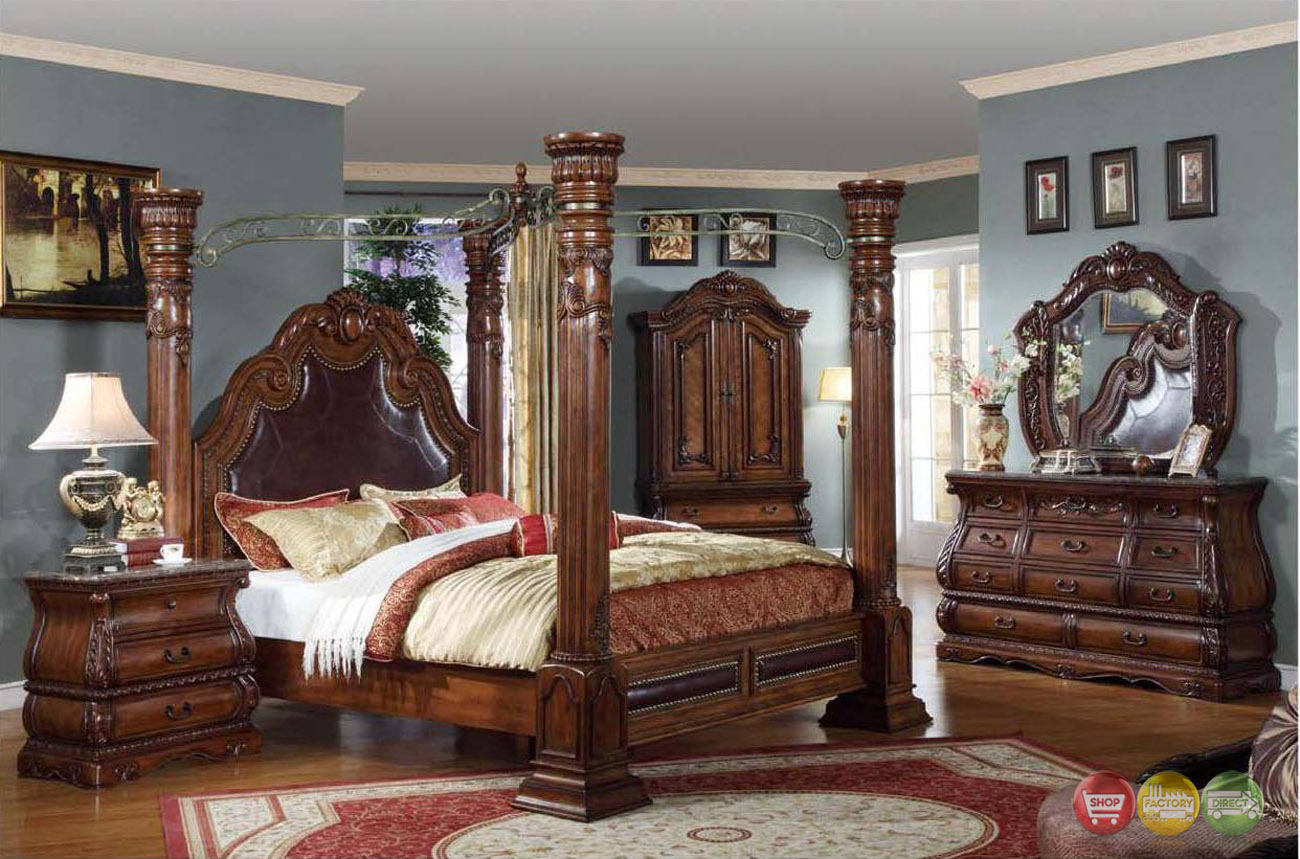 Royale Poster Canopy Bedroom Furniture With Marble Accents Free Shipping