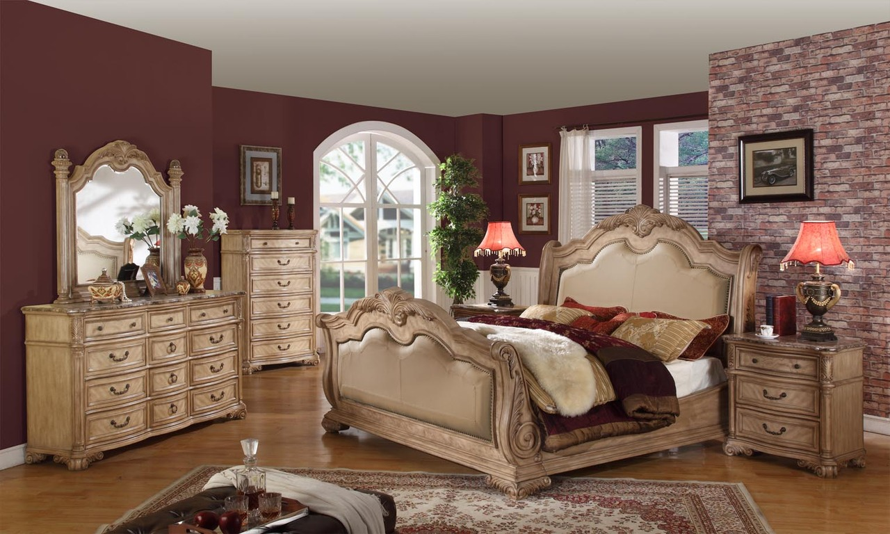 royale sleigh bed traditional bedroom set antique