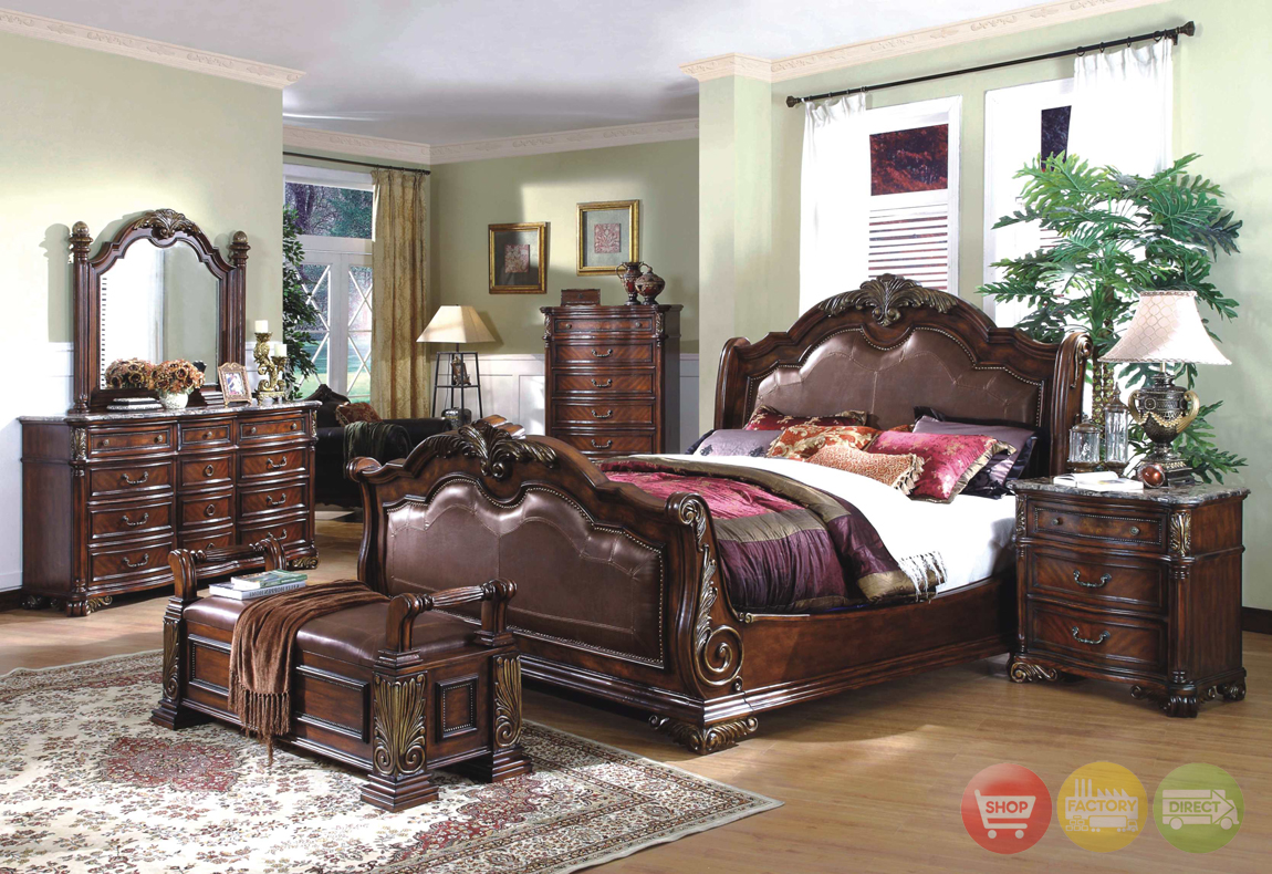 Royale sleigh dark bed luxury bedroom furniture set free for Luxury bedroom furniture