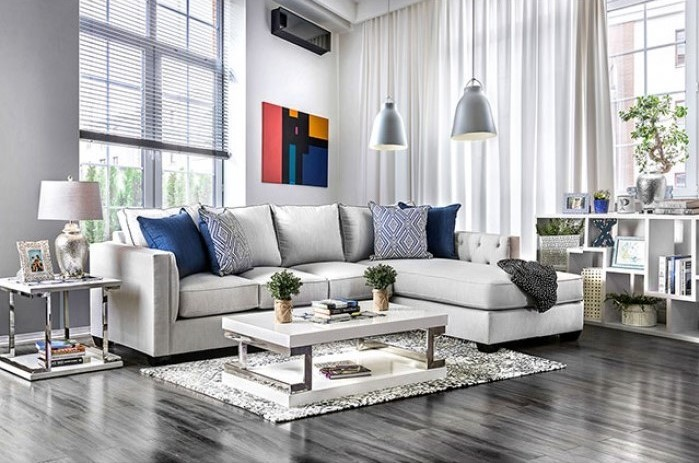 Details about New Brinley Transitional Light Gray Sectional Sofa w/ Button  Tufted Inner Arms