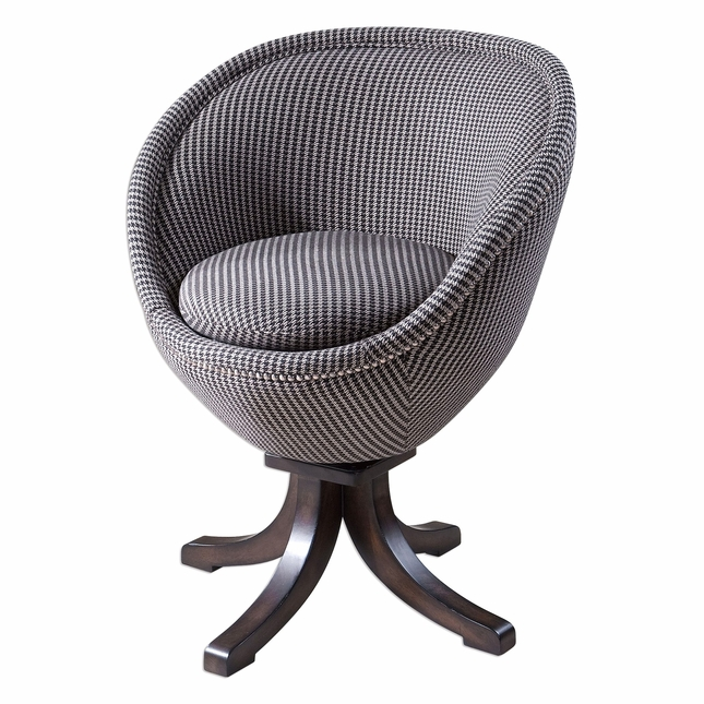 Rufar Retro Pod Accent Chair With Houndstooth Upholstery