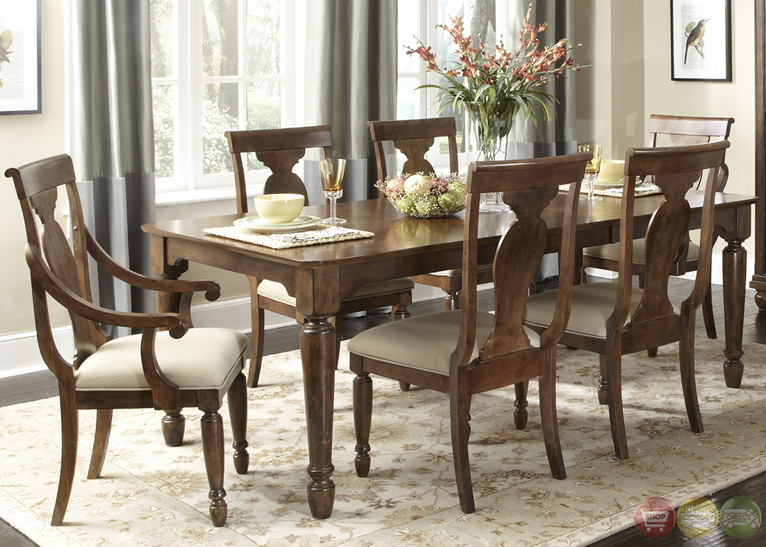 Rustic cherry rectangular table formal dining room set for Dining room table sets