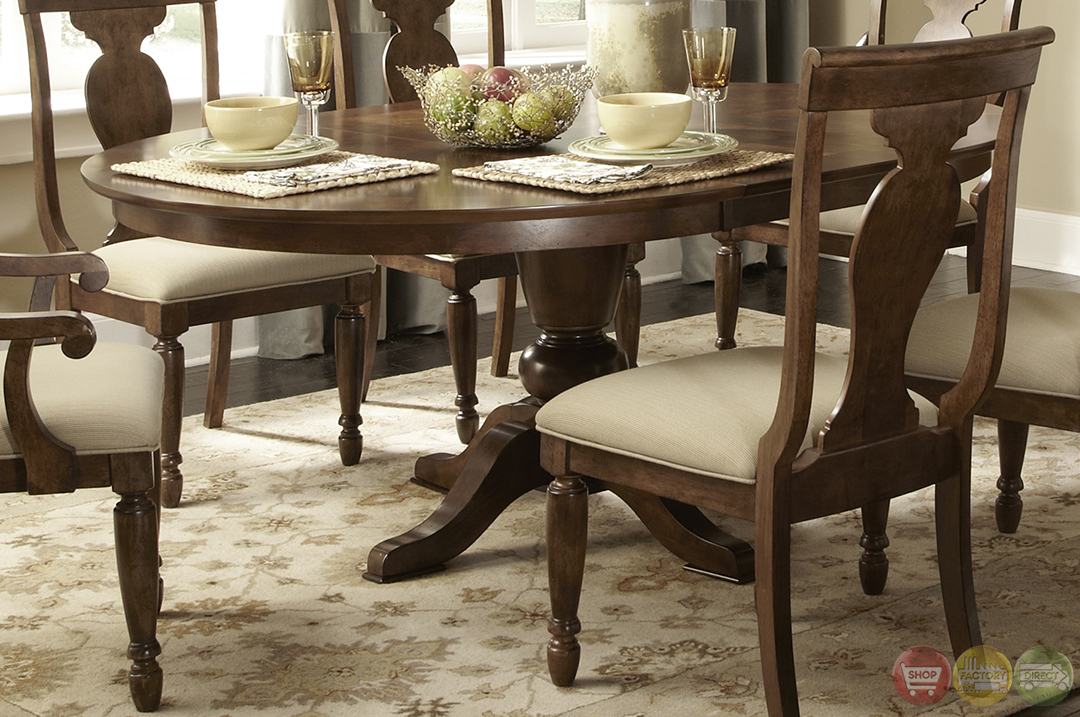 Rustic oval pedestal table formal dining furniture set for Formal dining table