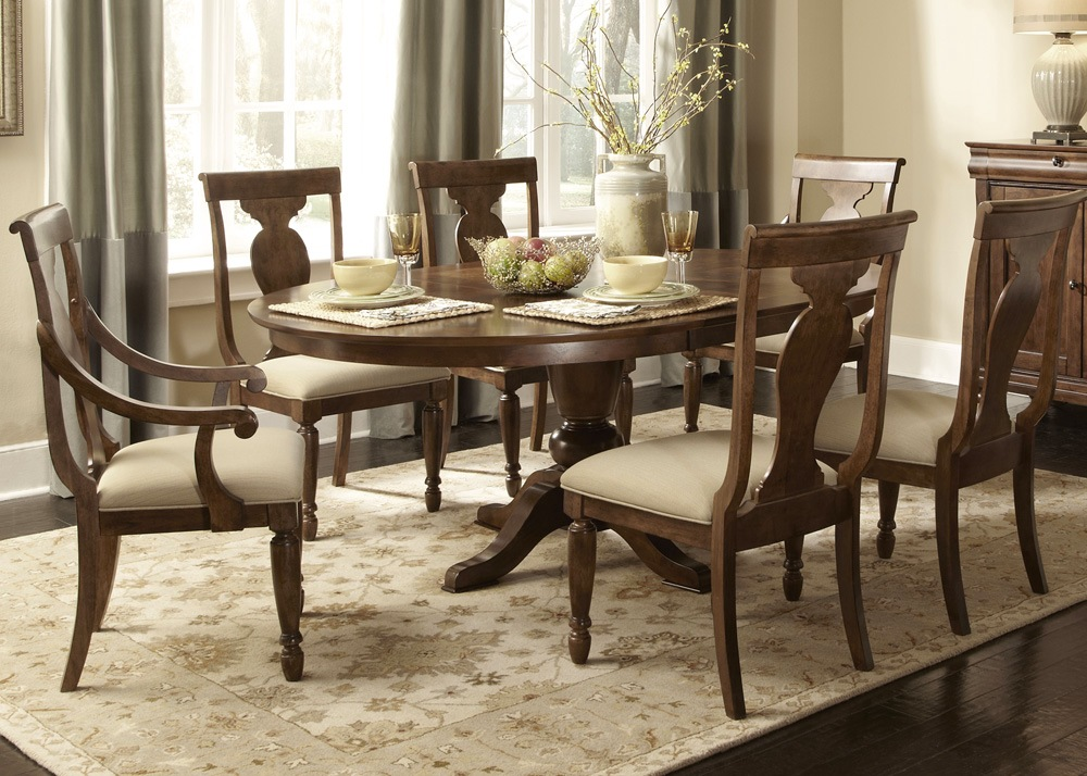 Rustic Oval Pedestal Table Formal Dining Furniture Set