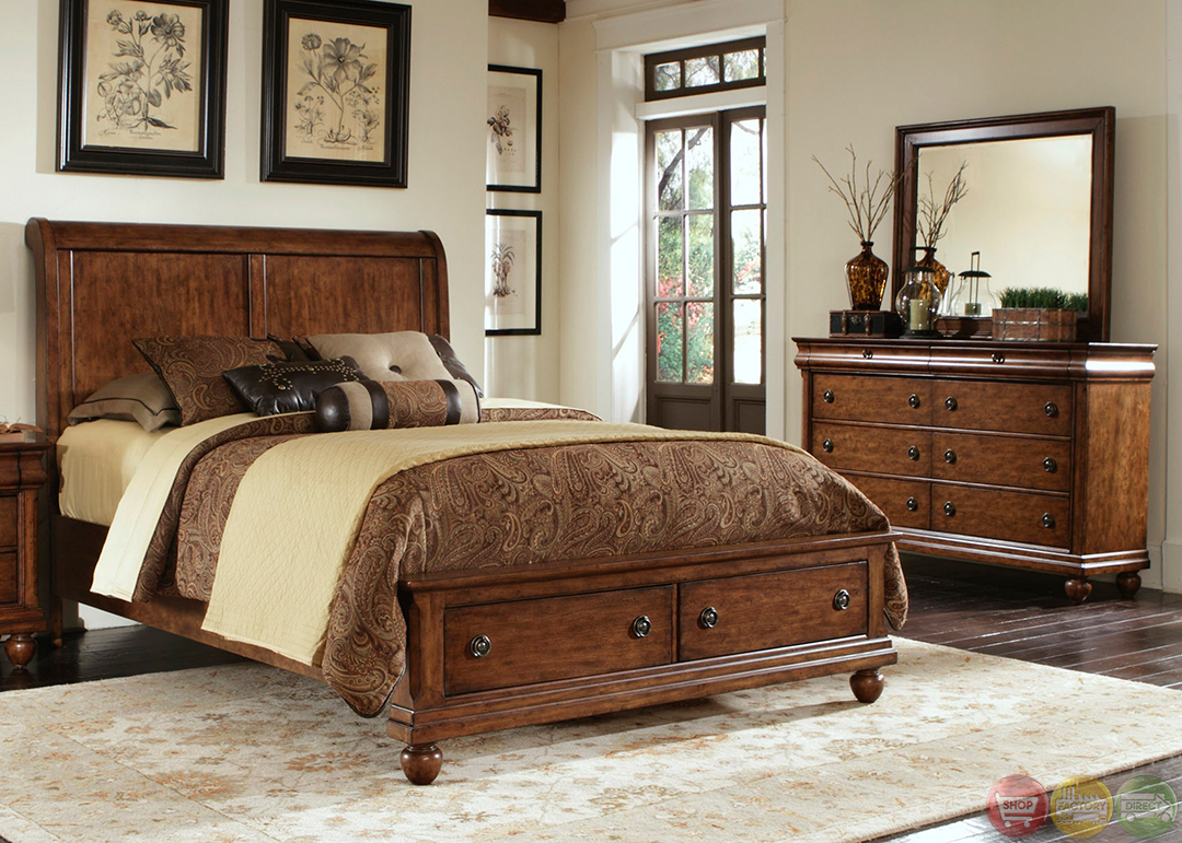 Rustic traditions cherry storage bedroom furniture set Bedrooms furniture