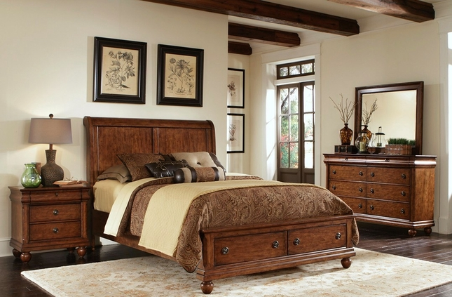 Rustic Traditions Cherry Storage Bedroom Furniture Set