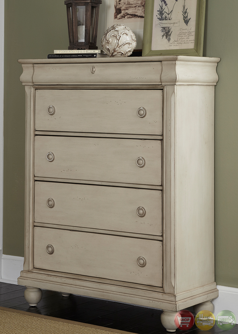 Rustic Traditions II Whitewash Finish Storage Bedroom Set