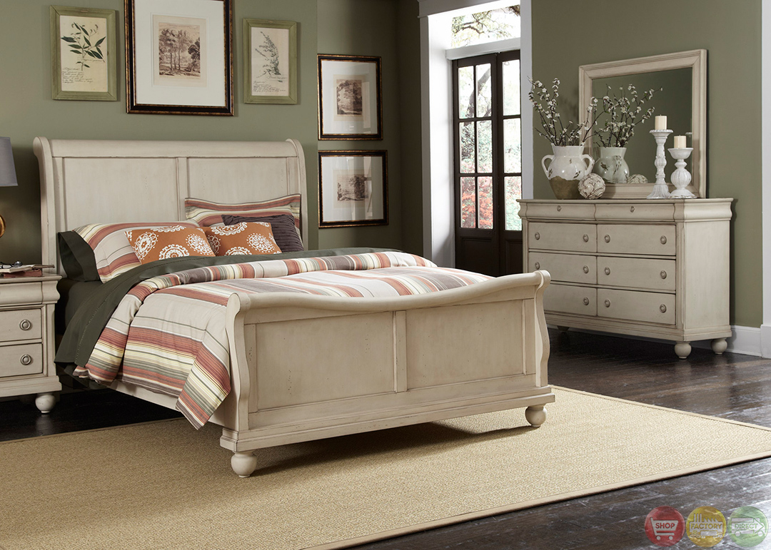 Rustic traditions ii whitewash sleigh bedroom furniture set for Bedroom furniture
