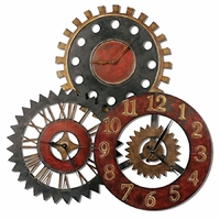 Rusty Movements Antique Dark Chestnut Brown and Silver Wall Clock  06762