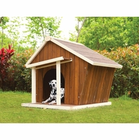 Rylee Modern Chic Jumbo Wooden Dog House w/ Porch Cream & Oak Finish