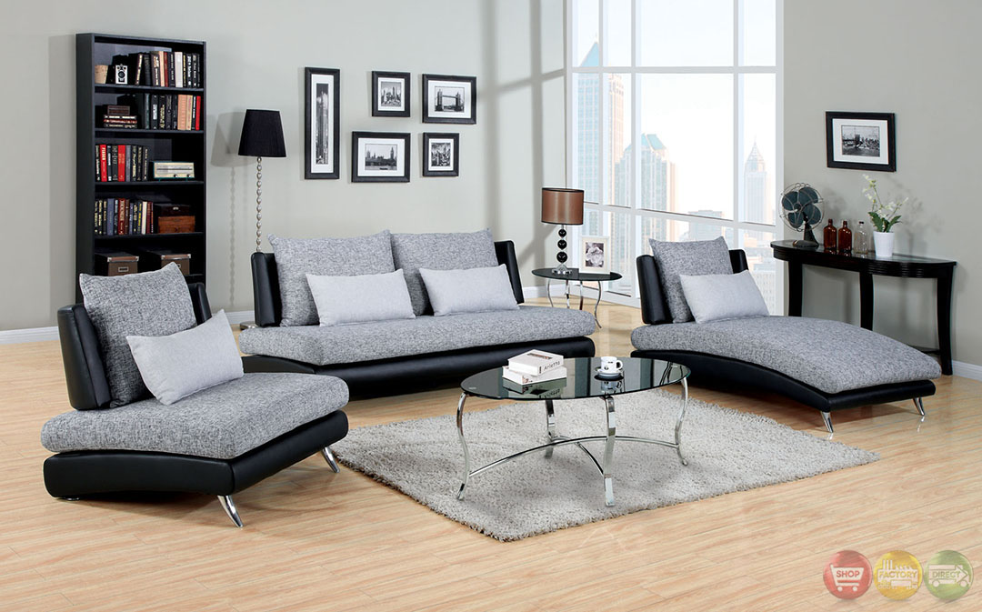 Saillon contemporary gray and black living room set with for Black living room set