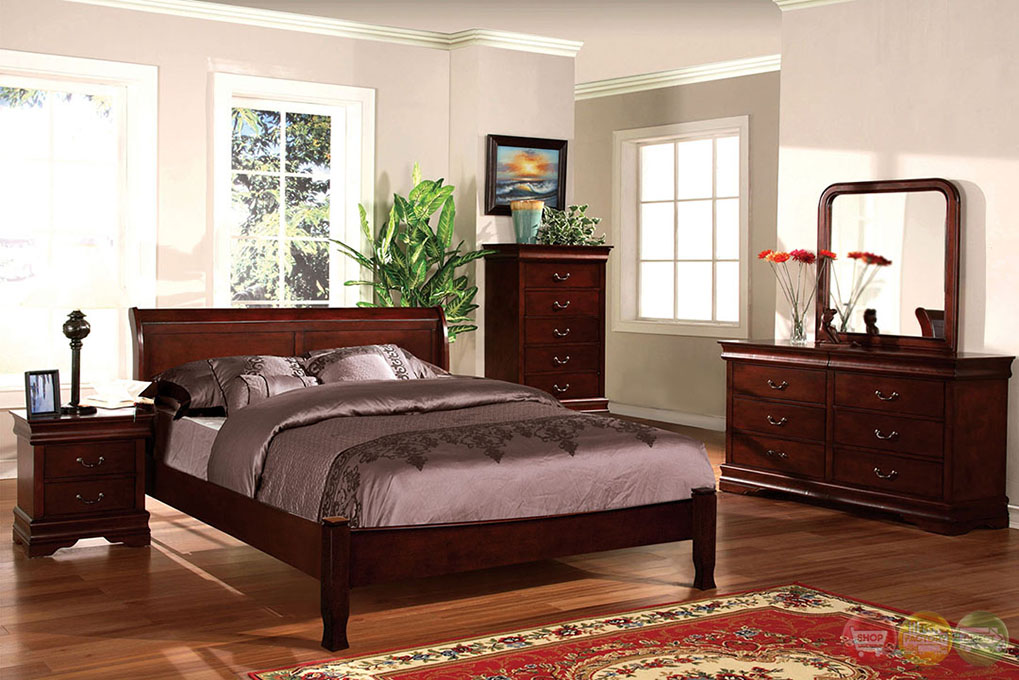 Saint Anne Transitional Cherry Sleigh Bedroom Set With Antique Bronze Handles Cm7825lch