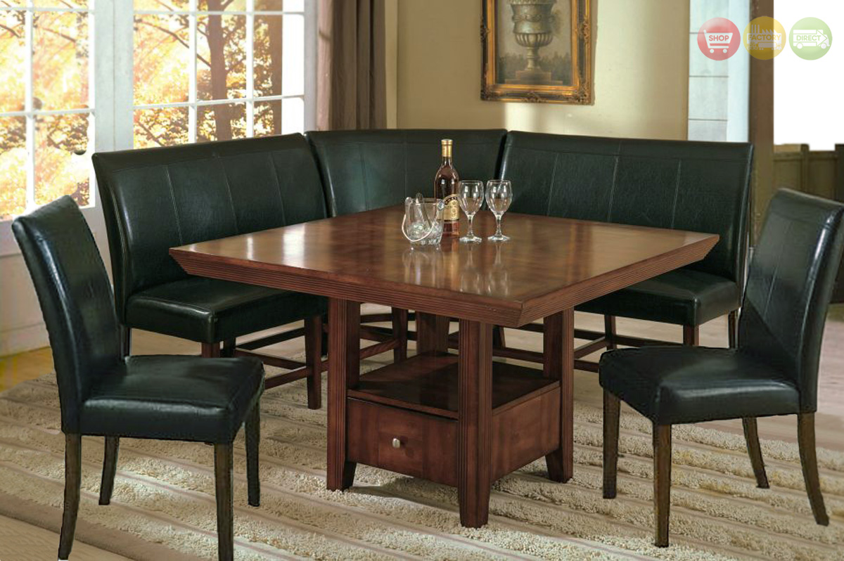 Salem 6pc breakfast nook dining set table corner bench for Corner dining set