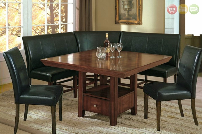 Salem 6pc Breakfast Nook Dining Room Set Table, Corner Bench Seating & 2 Chairs