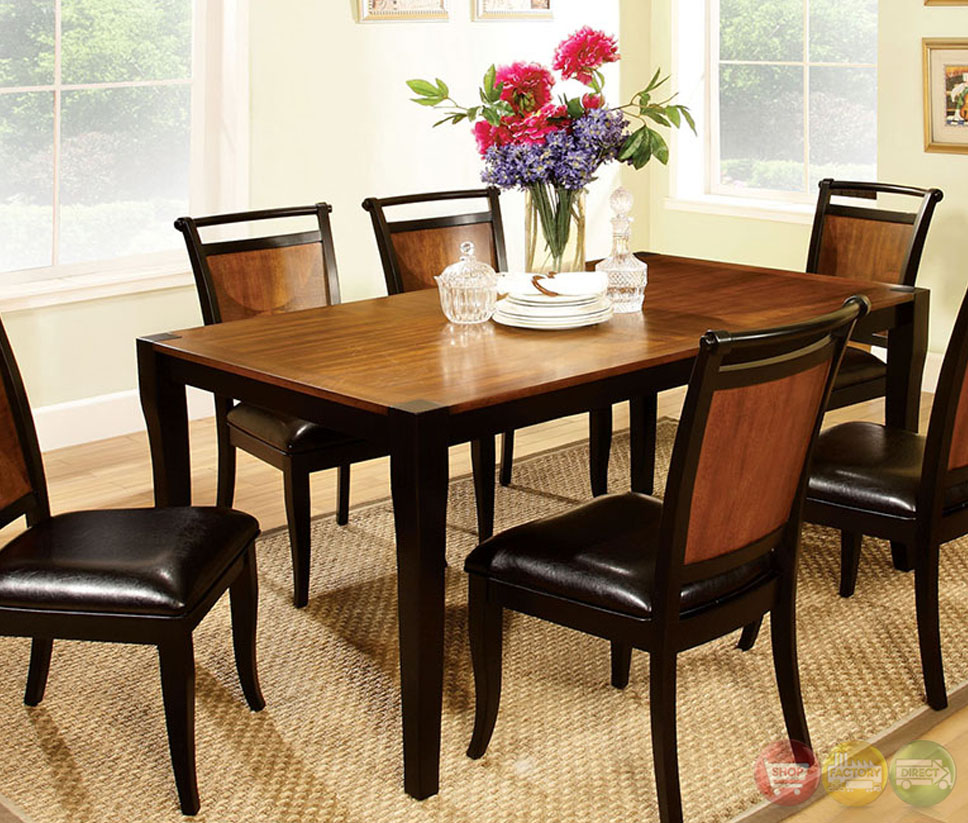 Salida i acacia and black casual dining set with padded for Informal dining room sets